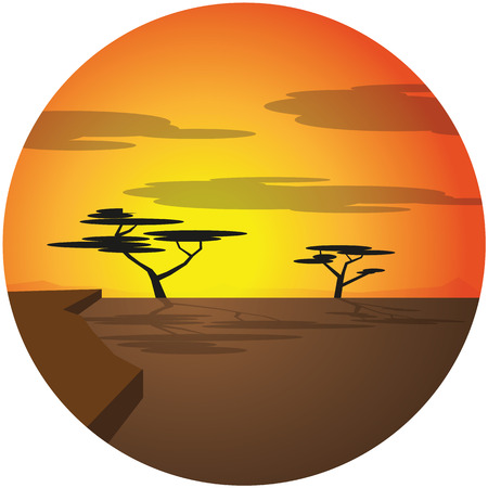 african svana illustration with sunset, trees and clouds Ilustrace