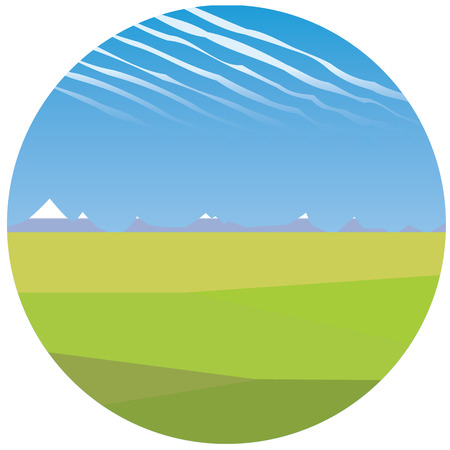 steppe: steppe illustration with green grass and mountains in the back Illustration