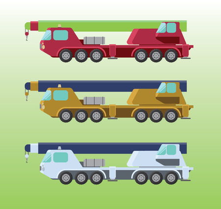 colorful cranes with six wheels and different colors