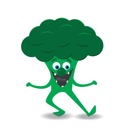 dancing brocoli illustration with smile, eyes and nose Illustration