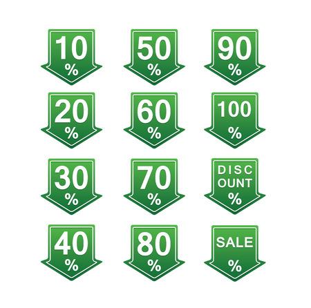 화살표와 퍼센트와 녹색의 할인 된 가격 태그 그림