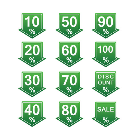 green discount price tag illustration with arrows and percents