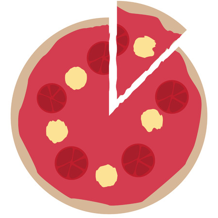 cut pizza simple illustration with tomatoes and cheese
