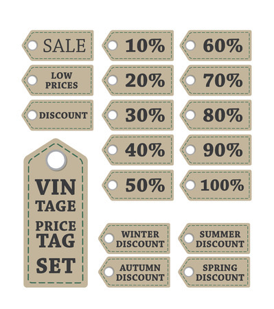 vintage brown discount price tag illustration with arrows and percents