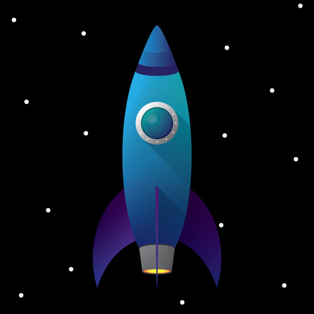 blue rocket illustration with space background Illustration