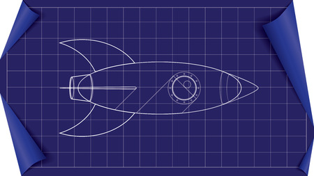 space rocket blueprint illustration with white lines