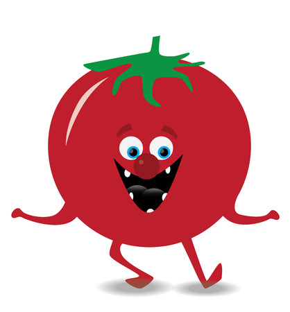 dancing tomato illustration with smile, eyes and nose