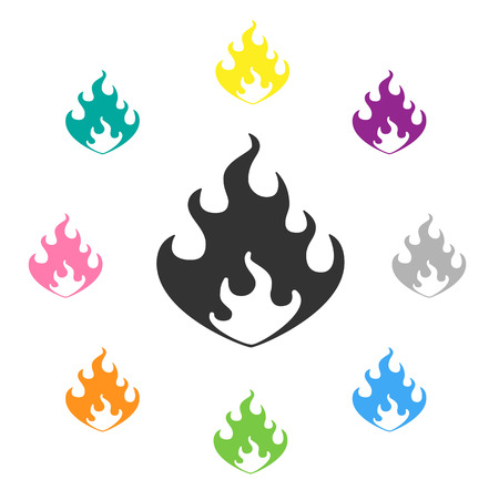 flame vector illustration with differnet colors