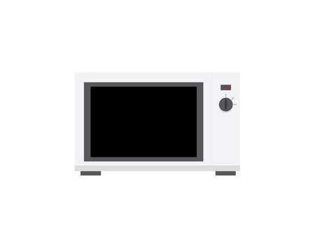 white microwave flat illustration with light shadows