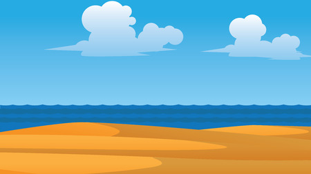 vector summer wallpaper with sea clouds and beach in fornt Illustration