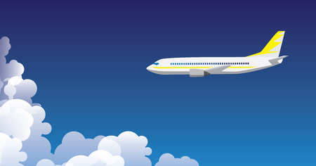 airplane background illustration with clouds and sky Illustration