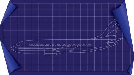 white lines: Illustrazione di aeroplano progetto con linee bianche