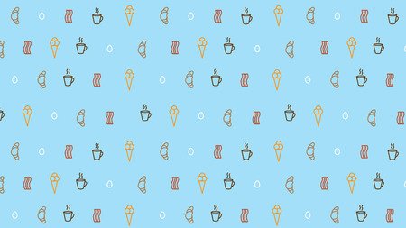 coffee background with breakfast motives with blue Illustration