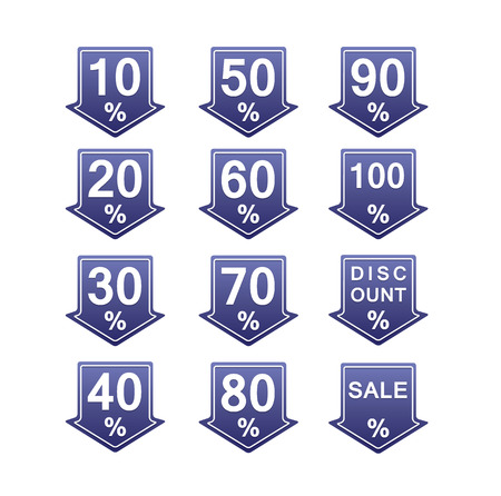 blue discount price tag illustration with arrows and percents