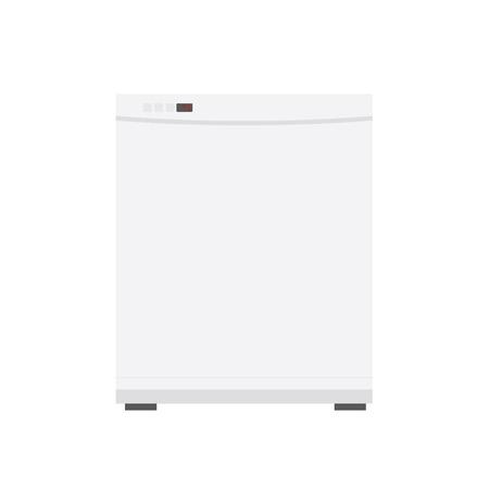 white flat dishwasher illustration in flat design