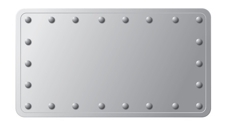 silver metal plate with rivets on its edge