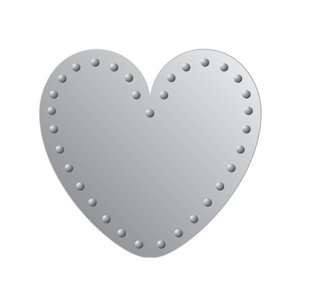 silver metal plate with rivets on its edge in the shape of heart