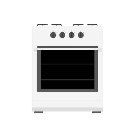 gas stove: white gas stove with flat design and light shadows
