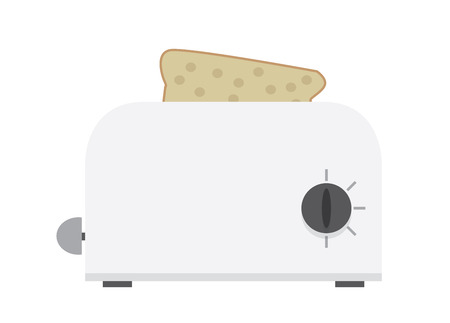 vectro: white toaster vectro flat illustration with light shadows Illustration