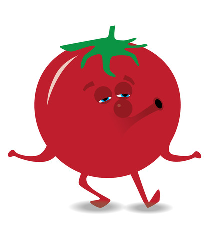 whistling tomato illustration with smile, eyes and nose