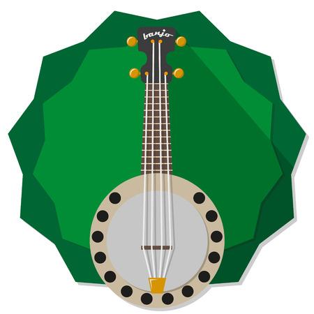 banjo illustration on green star badge background