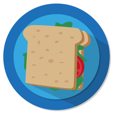sandwich illustration with tomato and salad with blue background