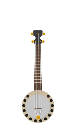 banjo vector illustration with silver strings andgolden parts