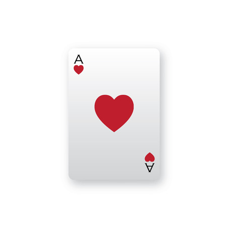 Simple Ace of hearts card illustration with soft drop shadow