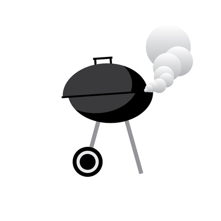 black barbecue vector gril with wheels illustration with smoke