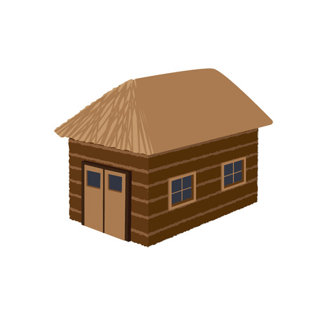 old barn vector illustration with windows and wheat roof