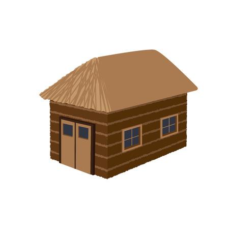 old barn: vecchio fienile illustrazione vettoriale con finestre e tetto di grano Vettoriali