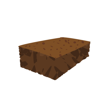 brownie: brown block brownie simple vector perspective illustration   Illustration
