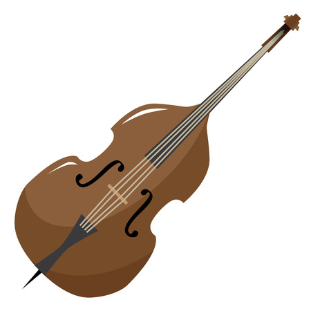 classic bass illustration with glossy wooden finish