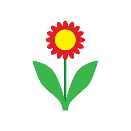 simple flower illustration with green leaves and red petals