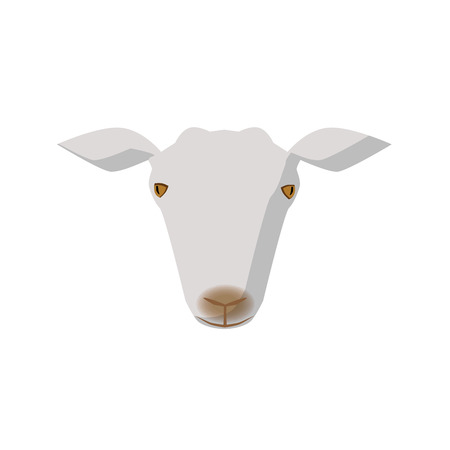 Simple illustration of goat head with soft shadow