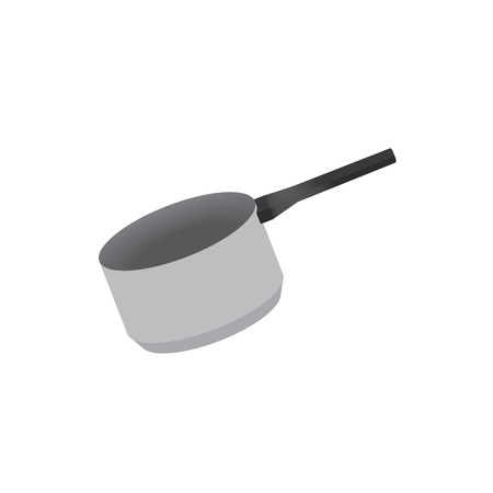kitchen pot illustration with black handle and soft shadows