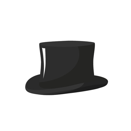Simple black top hat vector illustration with gloss