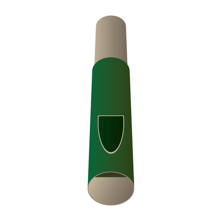 wooden whistle illustration with green and brown color Illustration