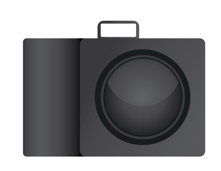 camera vector illustration in flat design with flash