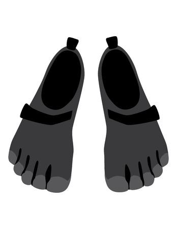five finger running barefoot shoes vector illustration