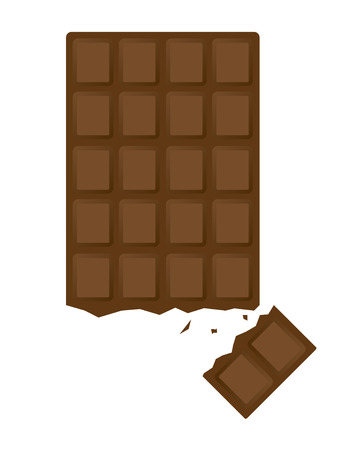chocolate vector illustration in flat design with small piece
