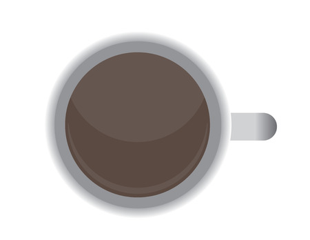 coffe mug from top vector flat illustration