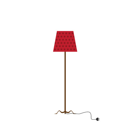 standing room lamp  vector illustration with red shade