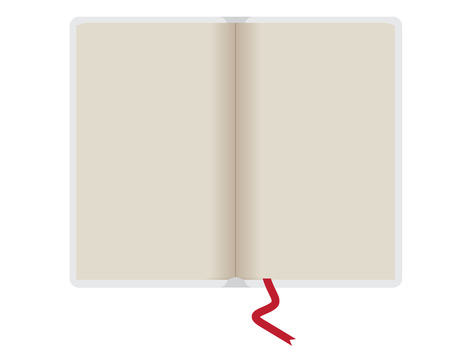 notebook vector illustration with red ribbon and flat design