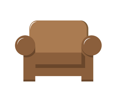 brown leather chair vector illustration in flat design