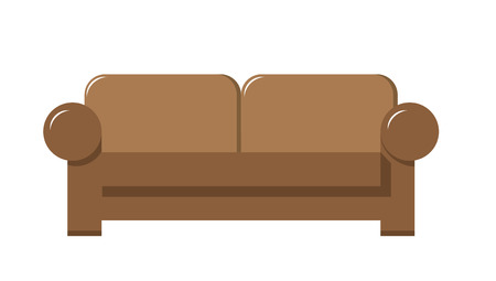 brown leather couch vector illustration in flat design Illustration