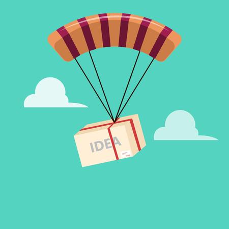 parachute jump: business Idea parachute jump Illustration