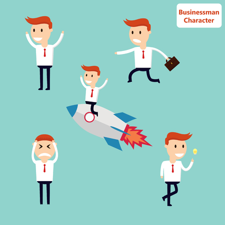 team worker: Business Set Character Illustration