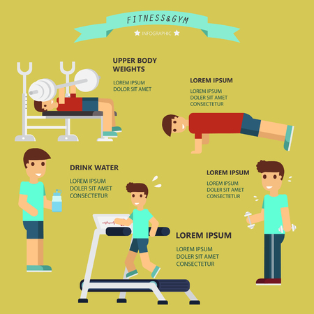 benchpress: fitness infographic Illustration