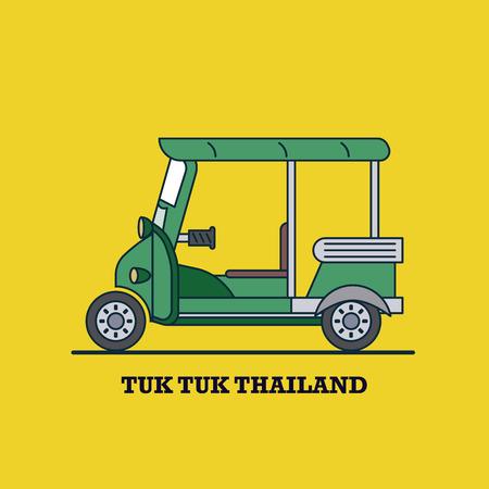 car side view: Tuk Tuk Thailand, Vector Background Illustration